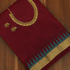 Raw Silk Saree Maroon with Zari Border and jewel