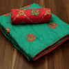 Sana Silk Saree Green with Annam Embroidery and Orange Shade with Embroidery Blouse