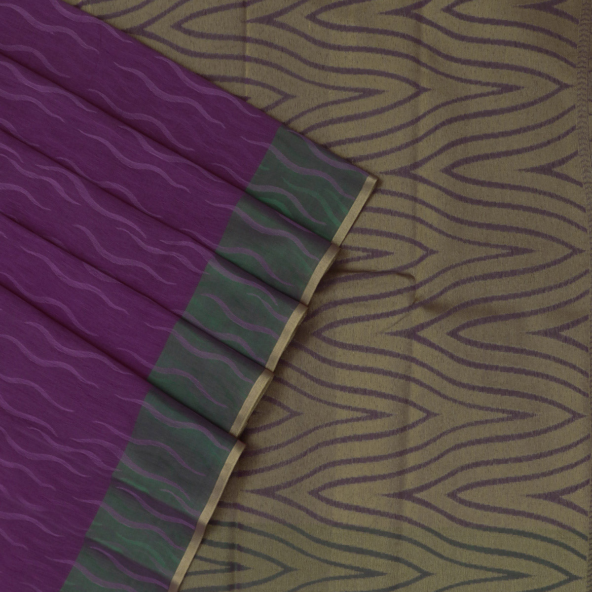 Kora silk saree lavender and Green with zari border
