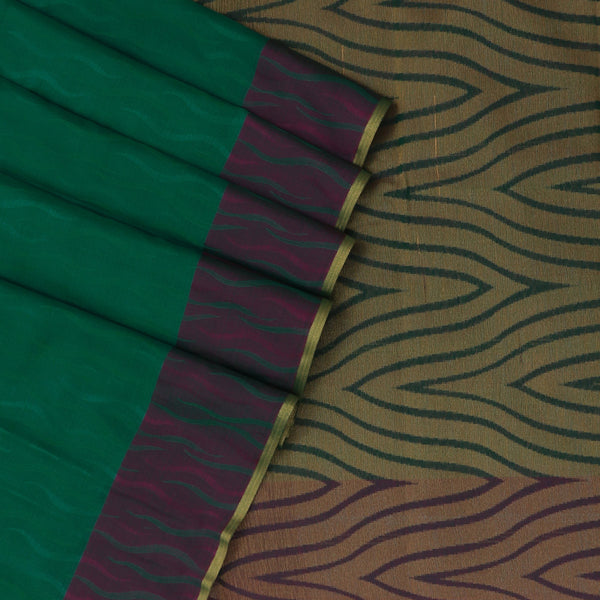 Kora silk saree Green and Violet with zari border
