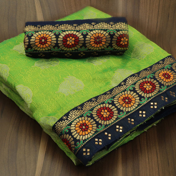 Sana Silk Saree Light Green and dark blue with floral thread border