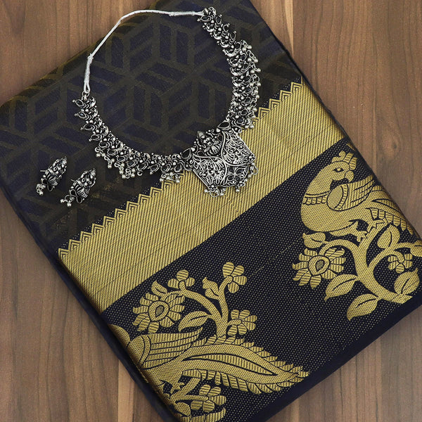 Raw Silk Saree Black with blue shade and peacock Zari Border and jewel for Rs.Rs. 1890.00 | Saree and jewel by Prashanti Sarees