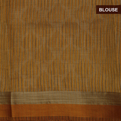 Raw Silk Saree mustar Shade with simple border and jewel