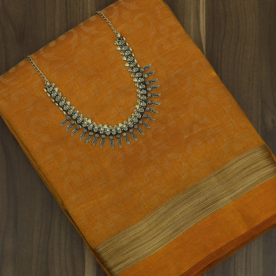 Raw Silk Saree mustard with Simple Border and jewel