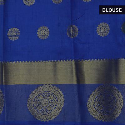 Raw Silk Saree Parrot Green and Blue with Round zari border and jewel for Rs.Rs. 1790.00 | Saree and jewel by Prashanti Sarees