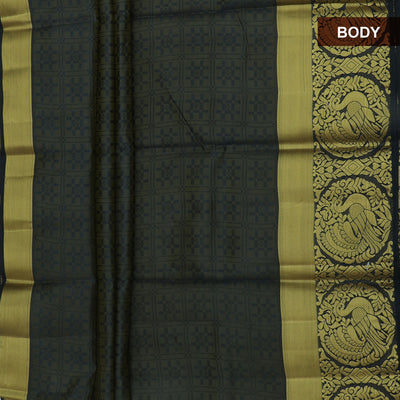 Raw Silk Saree Grey and Black shade with Annam zari border and jewel