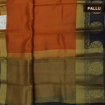 Raw Silk Saree orange Shade and Blue with Round Floral zari border and jewel