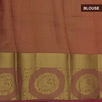 Raw Silk Saree Brick Orange Shade with Round Annam zari border and jewel