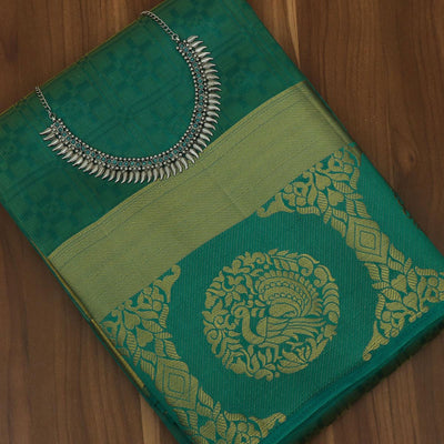 Raw Silk Saree Green Shade and Green with Annam zari border and jewel