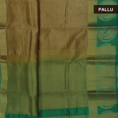 Raw Silk Saree Chikoo and Green with Annam zari border and jewel