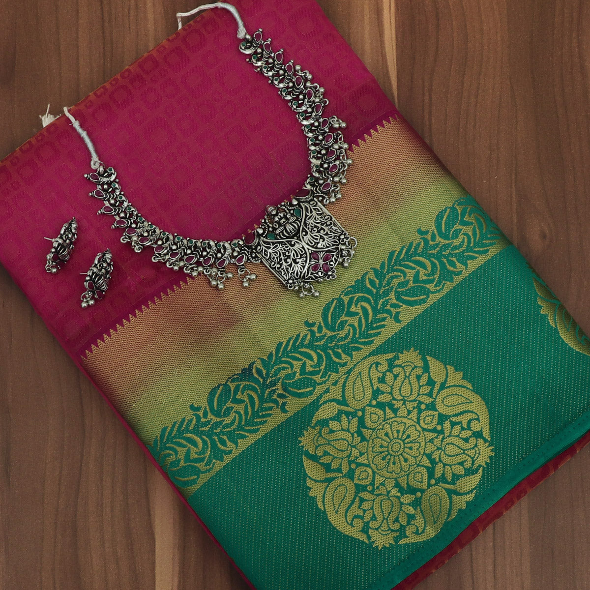 Raw Silk Saree Pink Shade and Green with Round Mango Zari border and jewel