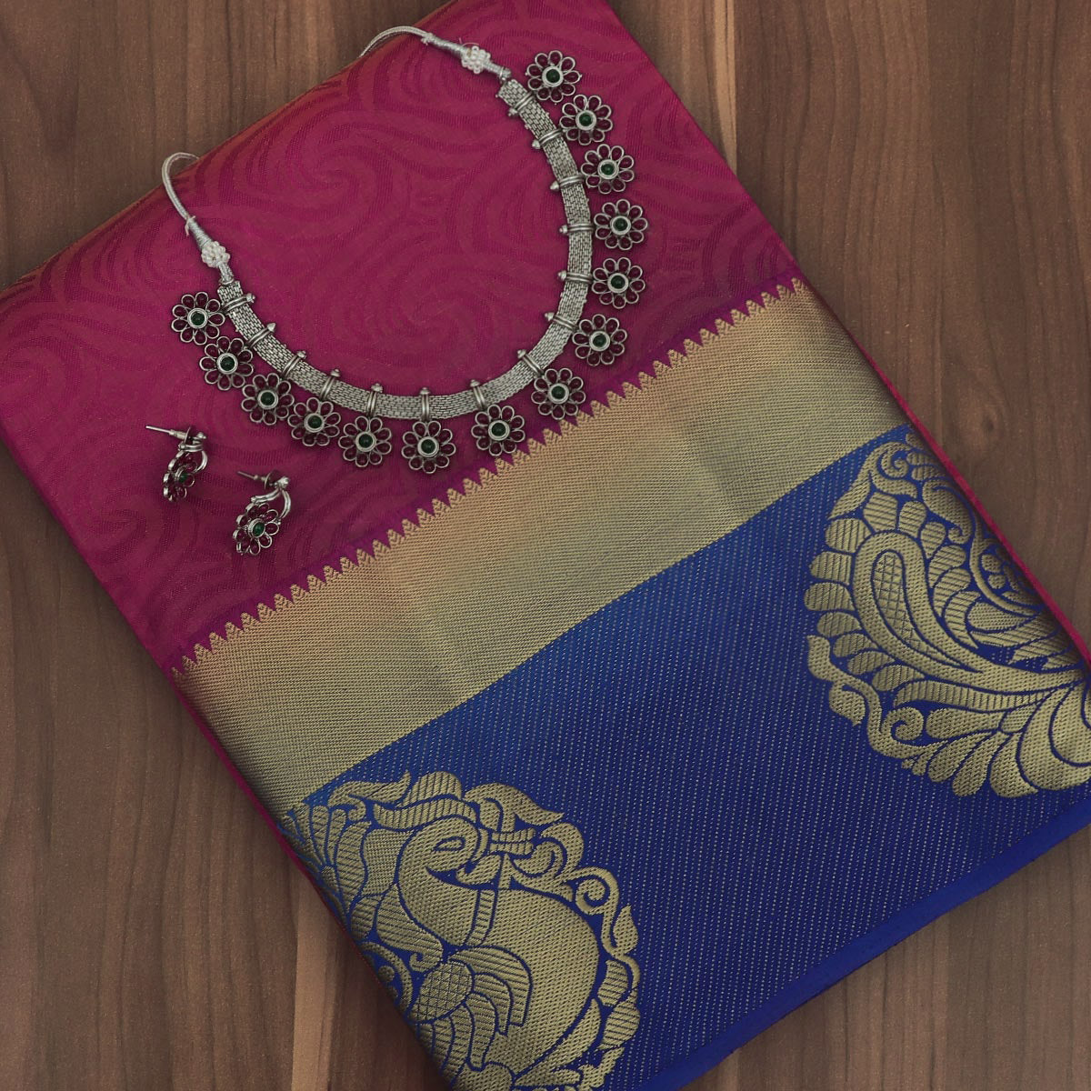 Raw Silk Saree Pink Shade and Blue with Annam Zari border and jewel