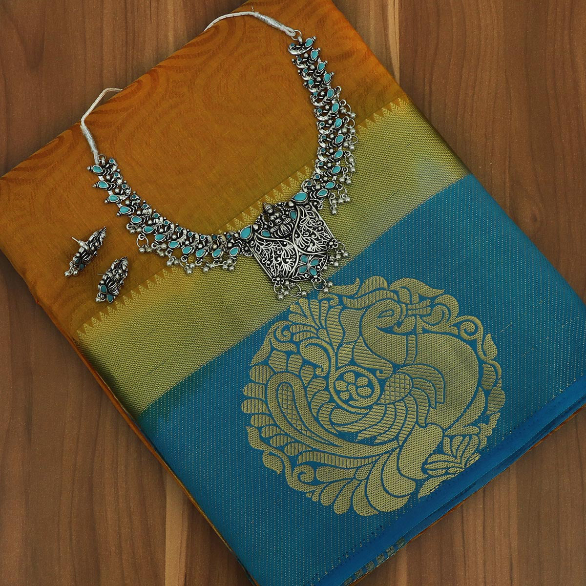 Raw Silk Saree Honey color and Sky Blue with Annam Zari border and jewel