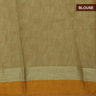 Raw Silk Saree Yellow Shade with simple border and jewel