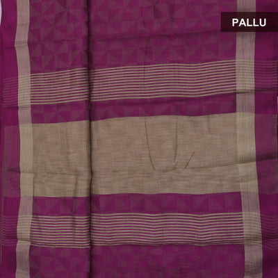 Raw Silk Saree Dark Pink Shade with Simple border and jewel