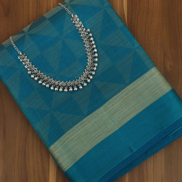 Raw Silk Saree Sky Blue Shade with Simple border and jewel