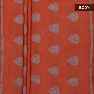 Raw Silk Saree Orange with Simple border and jewel