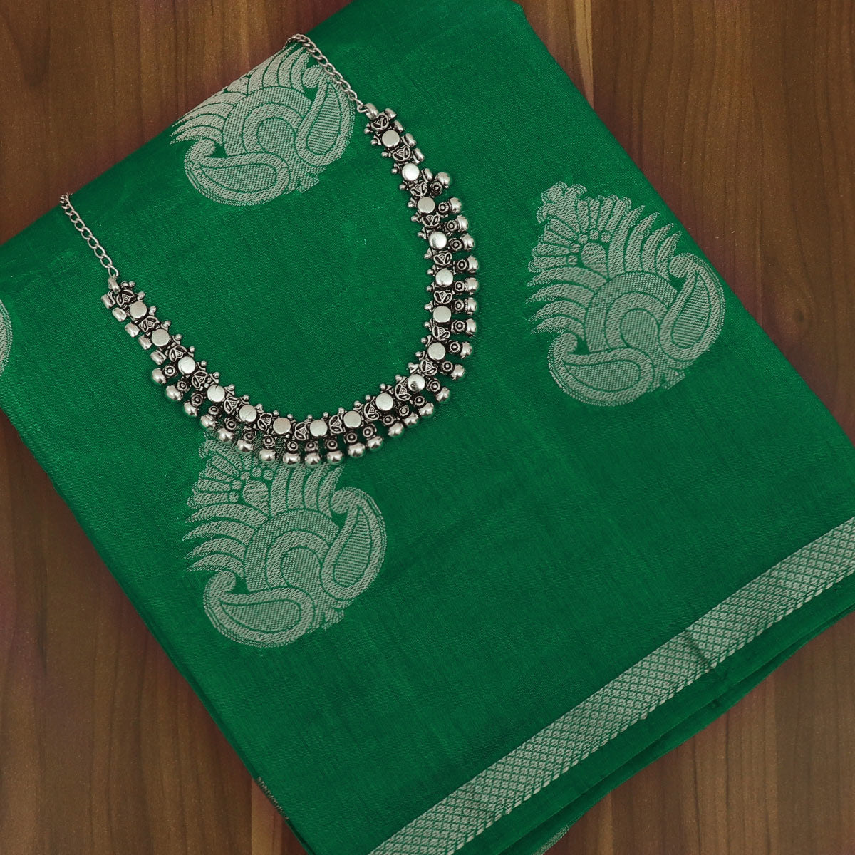 Raw Silk Saree Dark Green with Simple border and jewel