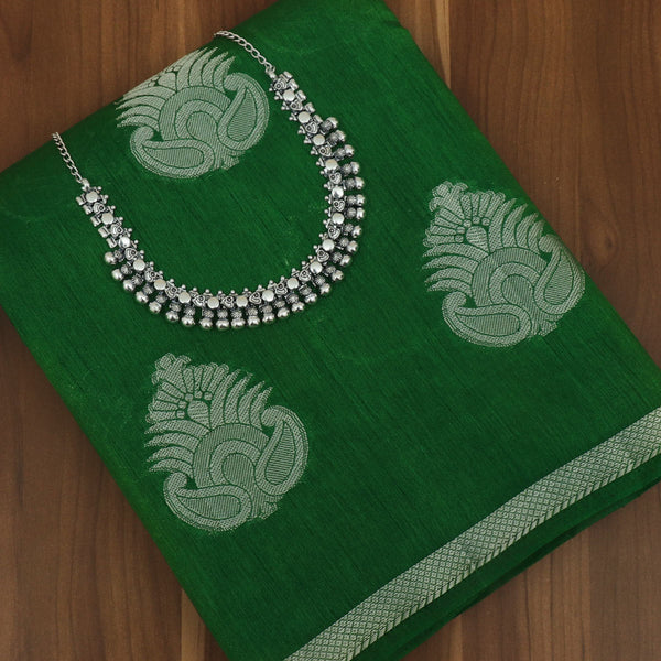 Raw Silk Saree Green with Simple border and jewel for Rs.Rs. 1840.00 | Saree and jewel by Prashanti Sarees