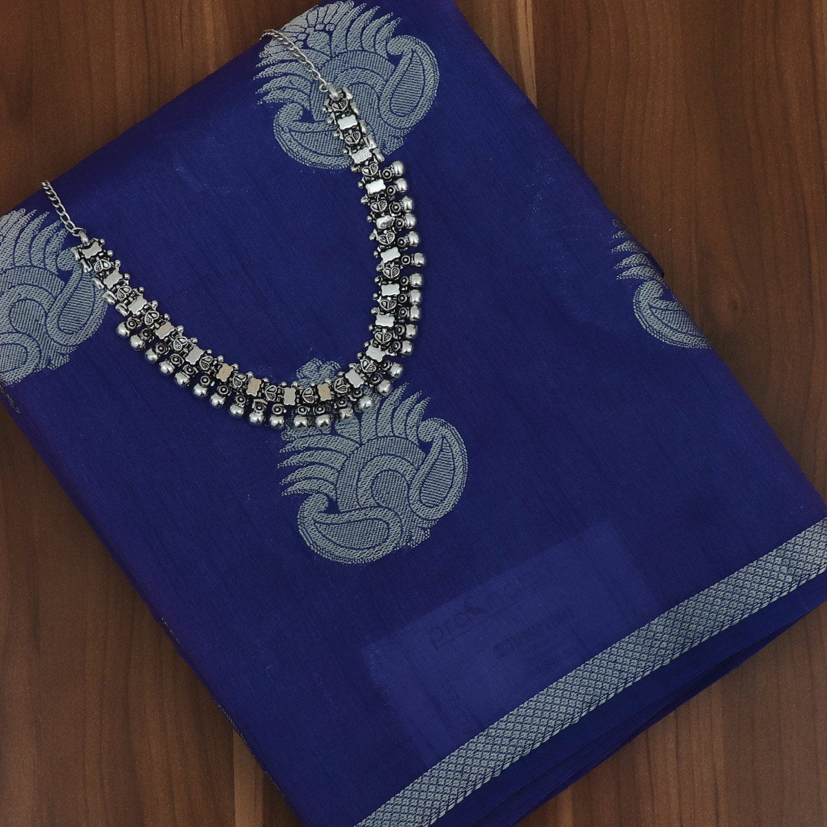 Raw Silk Saree Blue with Simple border and jewel