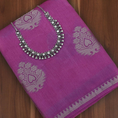 Raw Silk Saree Pink with Temple border and jewel