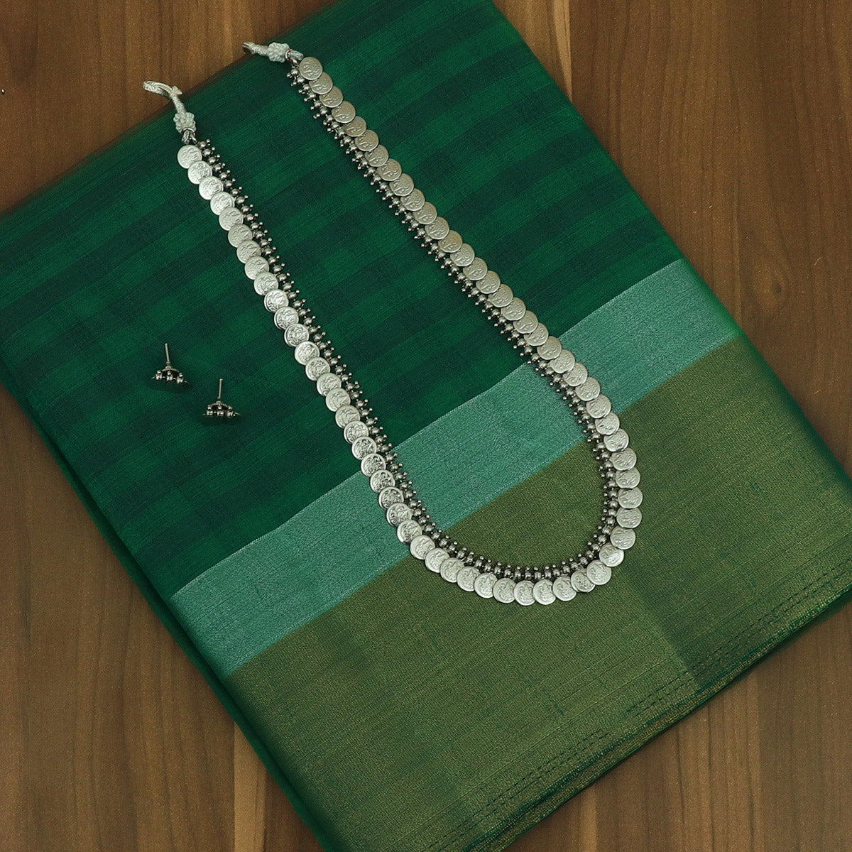 Raw Silk Saree Green with Small Checked and Zari border and jewel