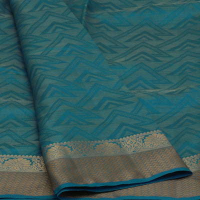 Raw Silk Saree Sky Blue Shade with Floral Zari border