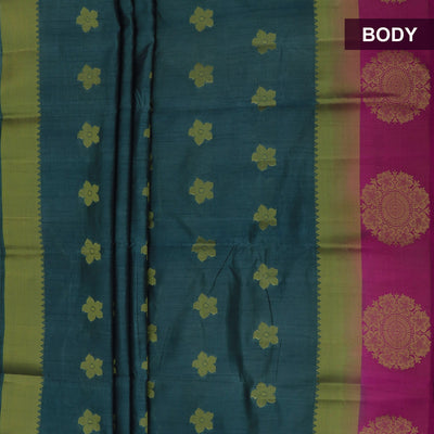 Raw Silk Saree Bluish Grey and Pink with Round Floral Zari border