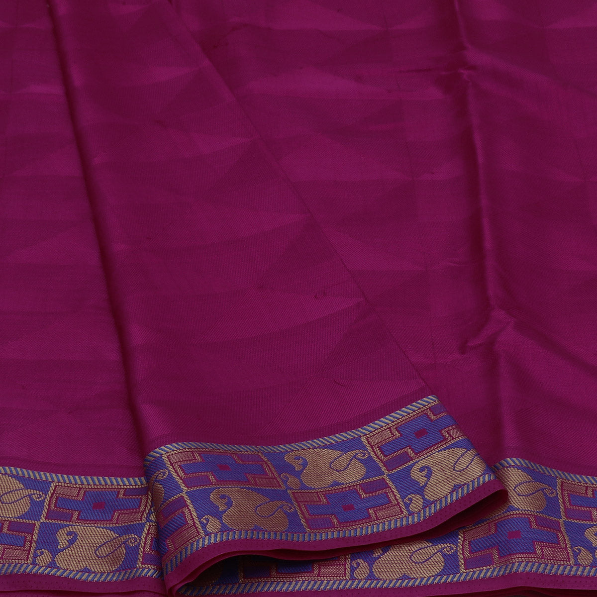 Raw Silk Saree Pink and Blue with Thread and Mango Zari border