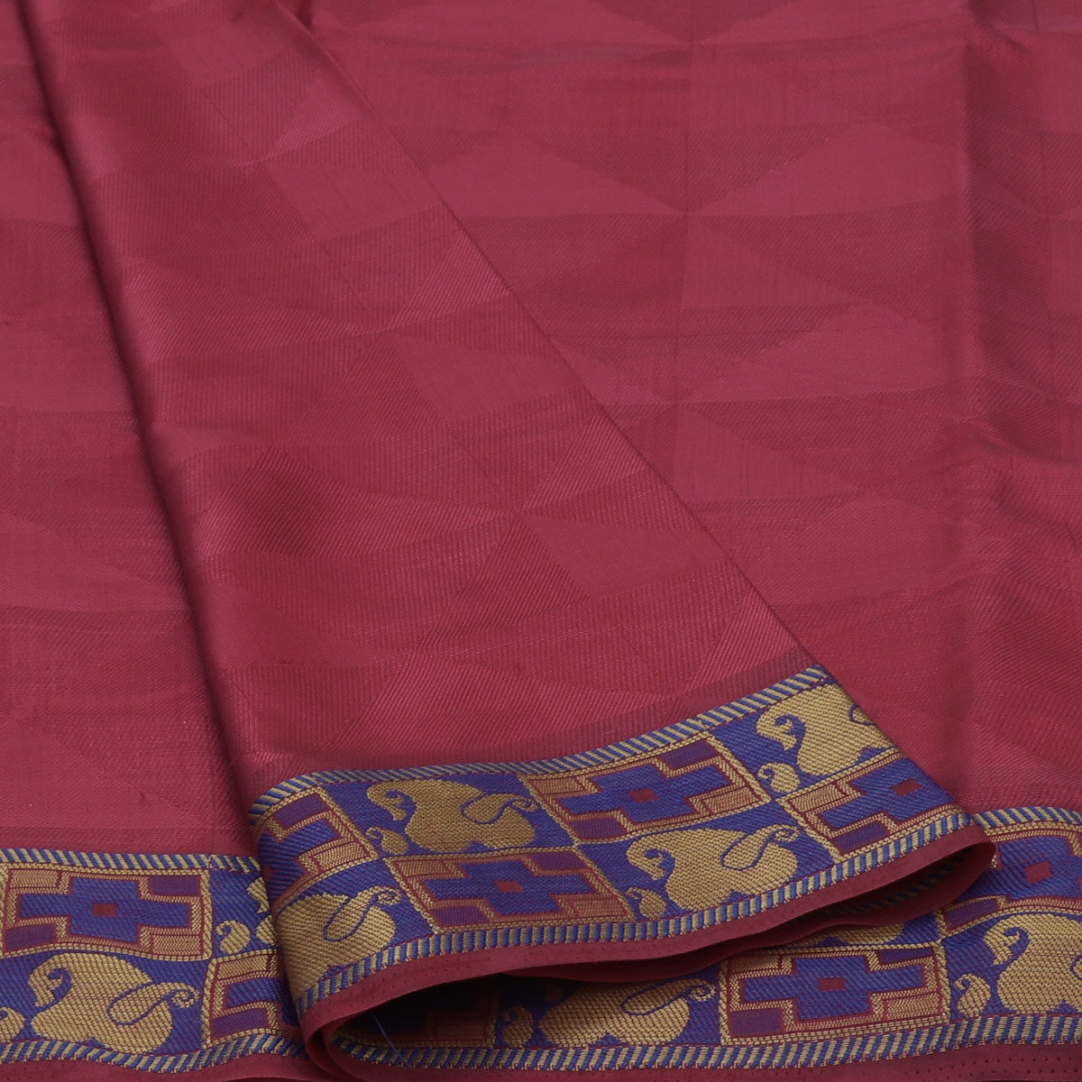 Raw Silk Saree Dark Pink and Blue with Thread and Mango Zari border