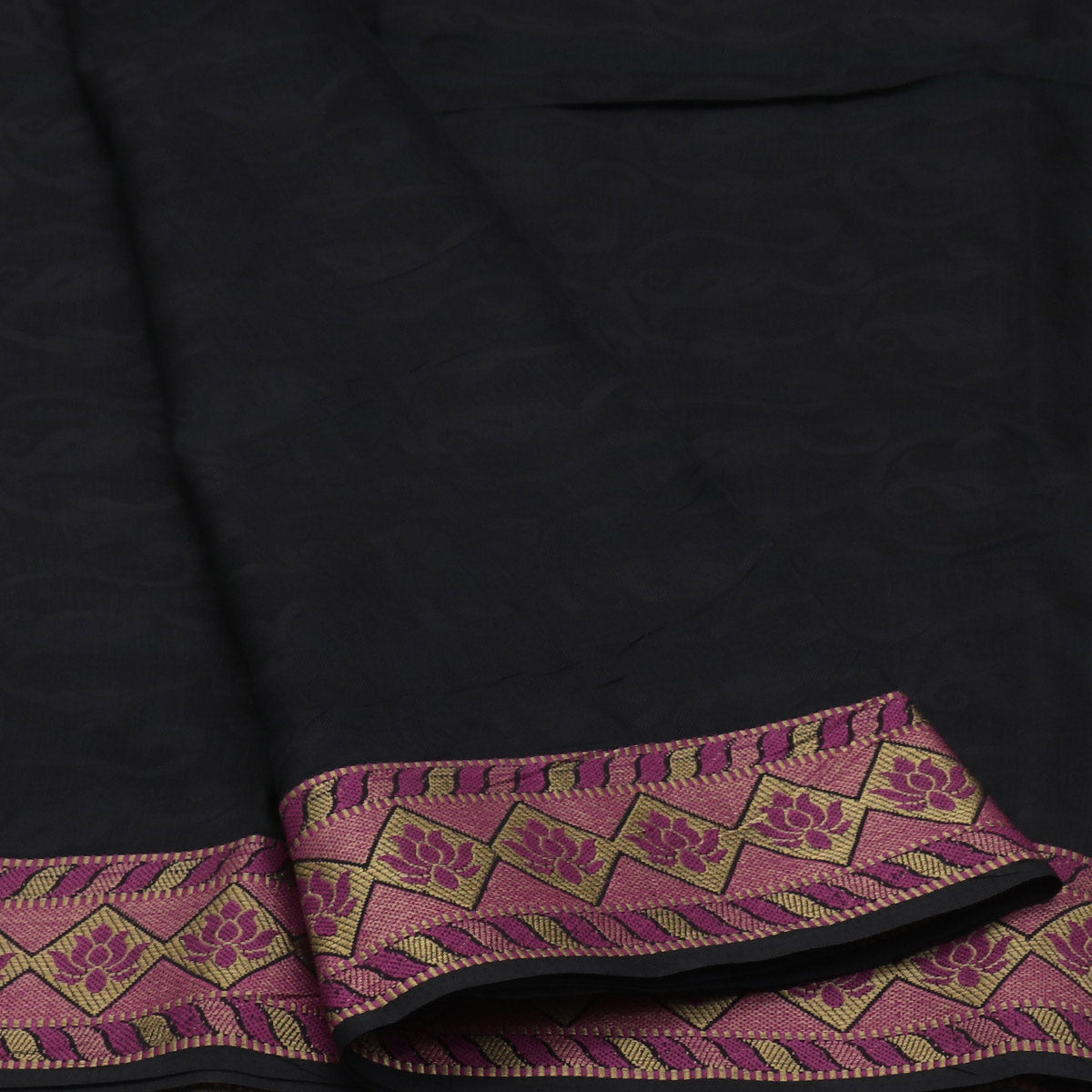Raw Silk Saree Black and Pink with lotus Thread border