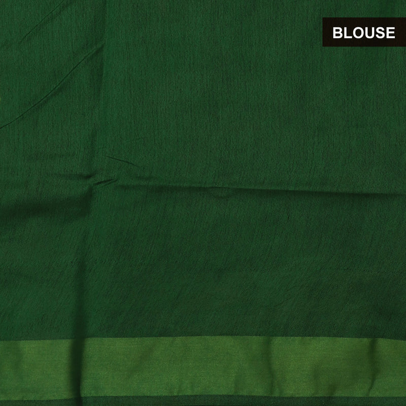 Bhagalpuri Paper Silk Saree Green Shade with Simple border