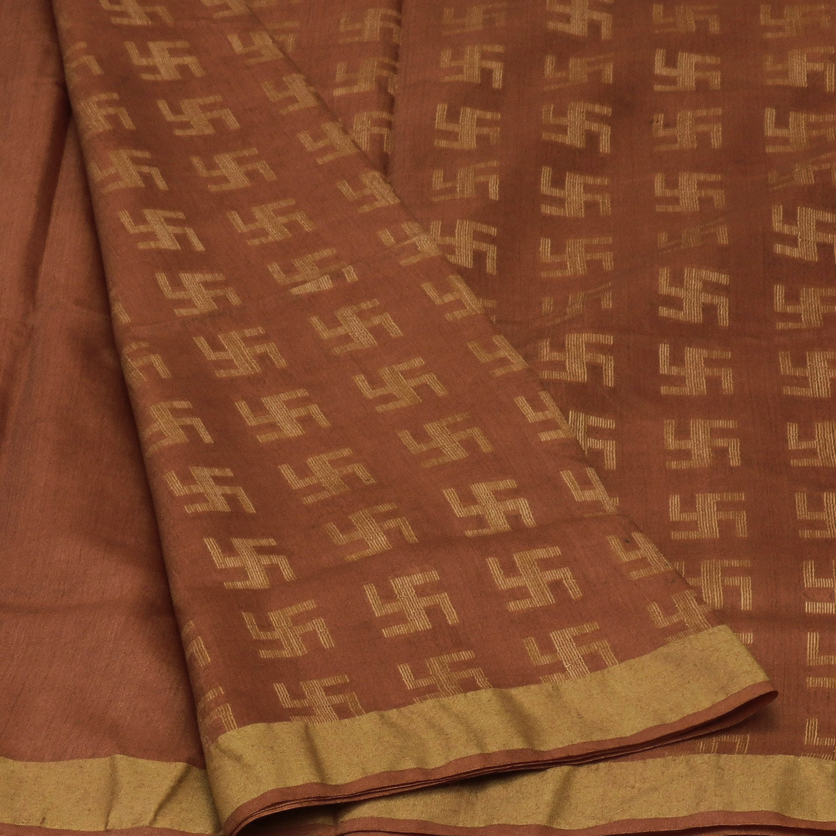 Bhagalpuri Paper Silk Saree Brown with Simple border