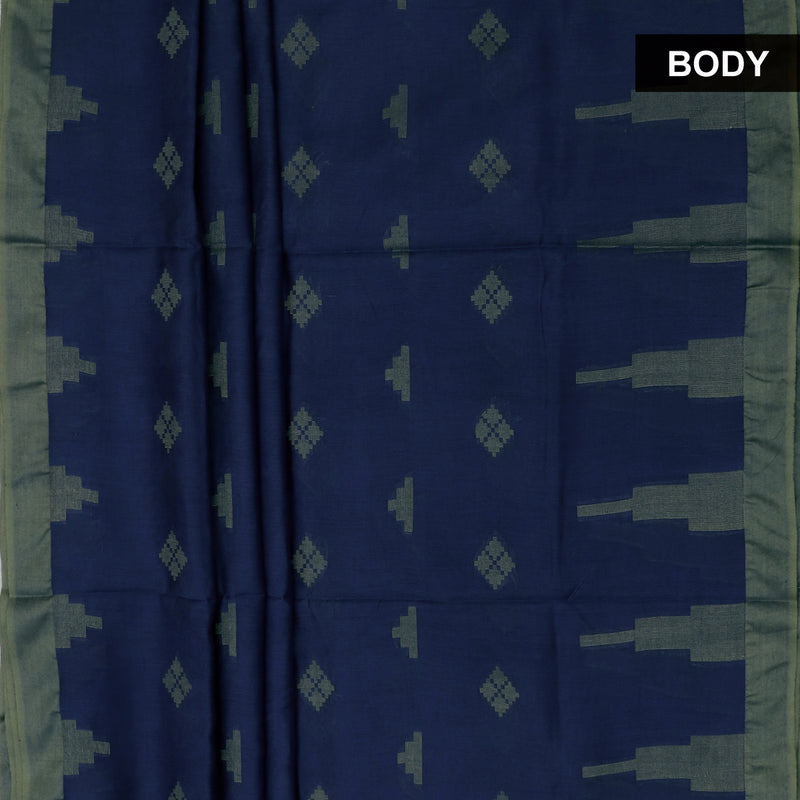 Bhagalpuri Paper Silk Saree Blue with Simple border