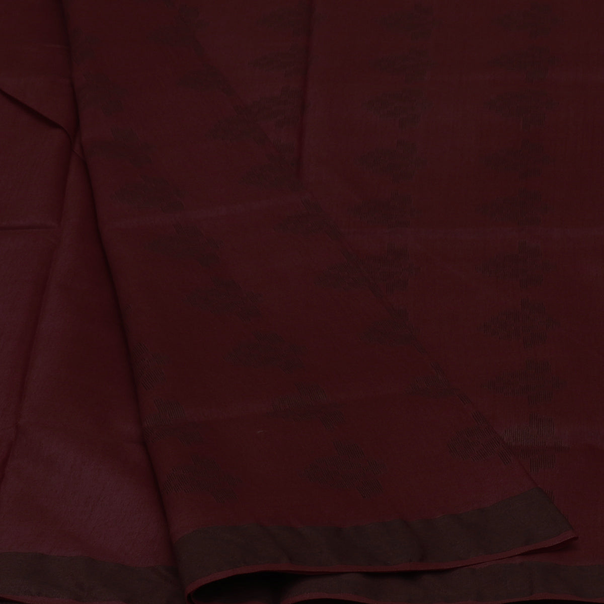 Bhagalpuri Paper Silk Saree Dark Maroon with Simple border