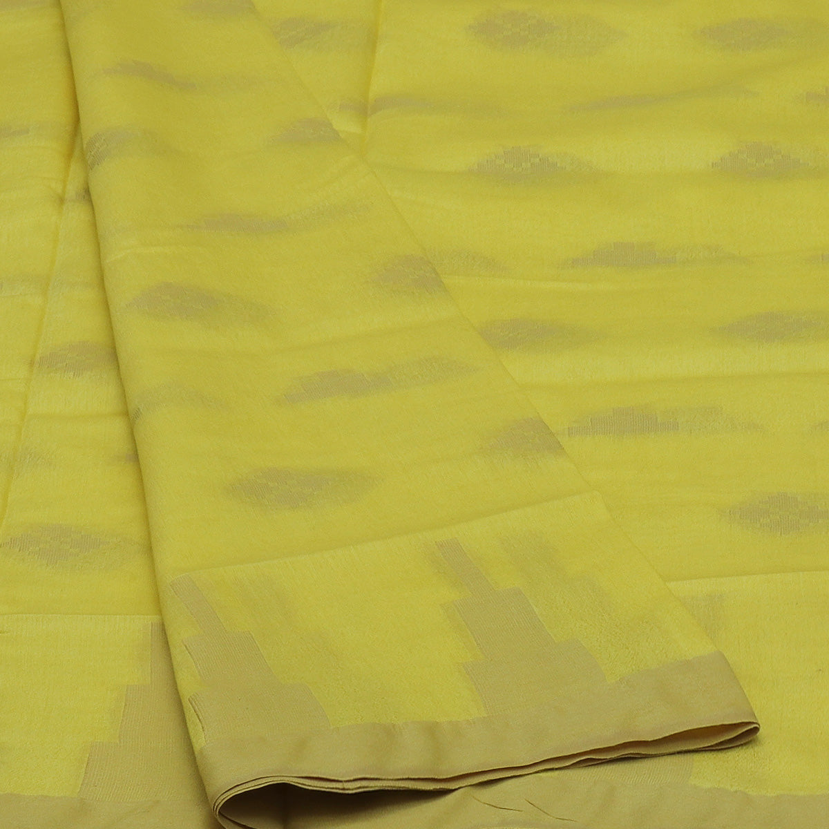 Bhagalpuri Paper Silk Saree Lime Yellow with Temple border