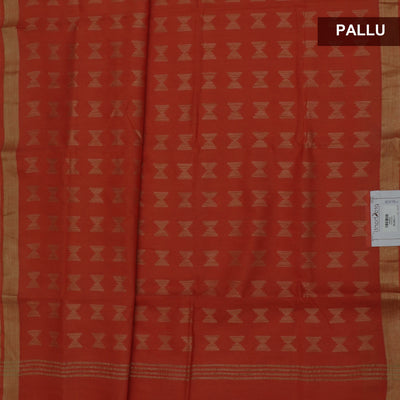 Bhagalpuri Paper Silk Saree dark Orange with Simple border