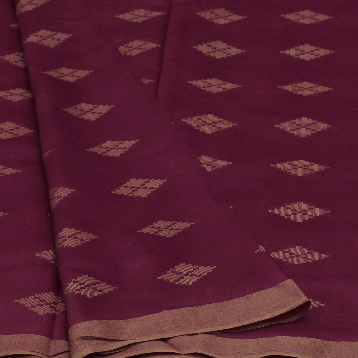 Bhagalpuri Paper Silk Saree Maroon with Simple border