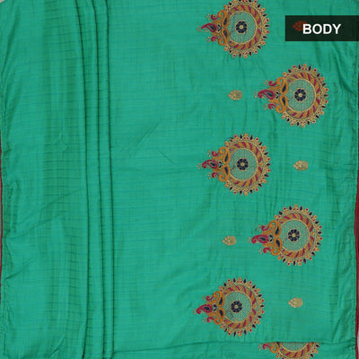 Sana Silk Saree See Blue and Brick Red Embroidery blouse