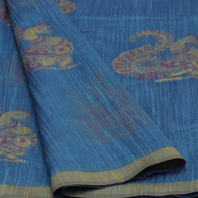Jute Linen Saree Blue and Yellow with Annam Design and Simple border