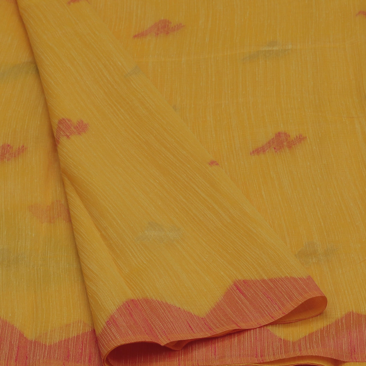 Jute Linen Saree Yellow and Orange with Parrrot Design and Temple border