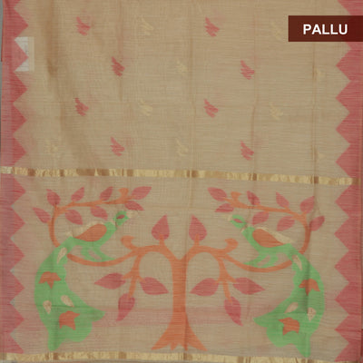 Jute Linen Saree Chikoo and Pink with Parrot Design and Temple border