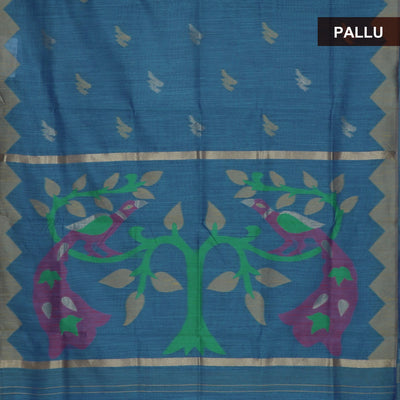 Jute Linen Saree Sky blue and Yellow with Parrot Design and Temple border