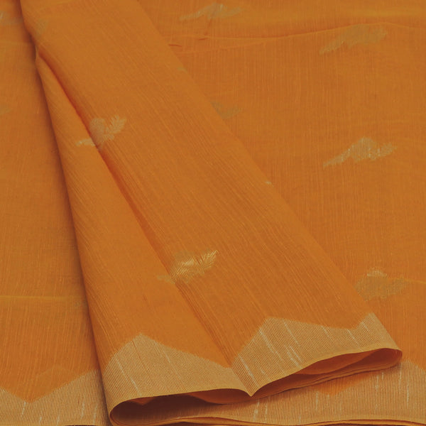 Jute Linen Saree Orange and Beige with Parrot Design and Temple border