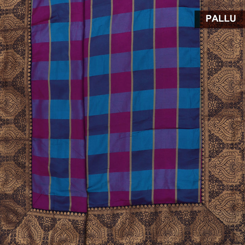 Sana Silk Saree Sky Blue and Pink Checked with Dark Blue Floral Zari border and Dark Blue Jimikki Blouse