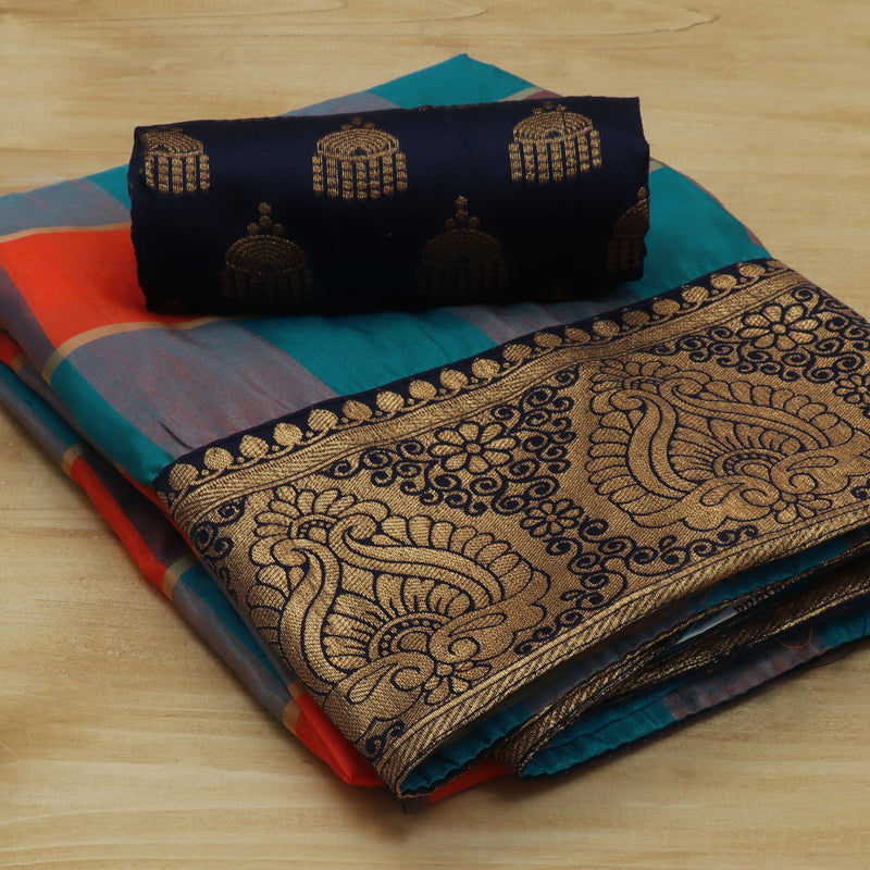 Sana Silk Saree Sky Blue and Orange Checked with Dark Blue Floral Zari border and Dark Blue Jimikki Blouse for Rs.Rs. 1230.00 | Art Silk Sarees by Prashanti Sarees