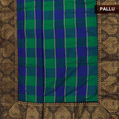 Sana Silk Saree Blue and Green Checked with Dark Blue Floral Zari border and Dark Blue Jimikki Blouse