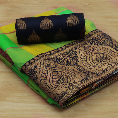 Sana Silk Saree Yellow and Parrot Green Checked with Dark Blue Floral Zari border and Dark Blue Jimikki Blouse
