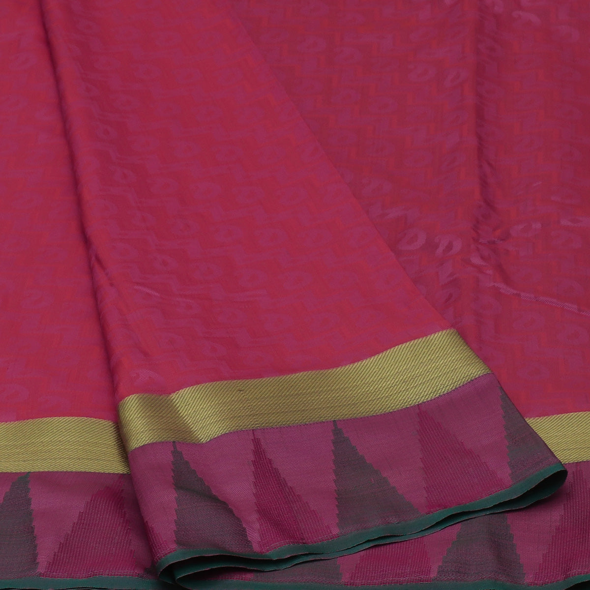 Art Silk Saree Light Pink and Green dual shade with Simple Zari and Temple border