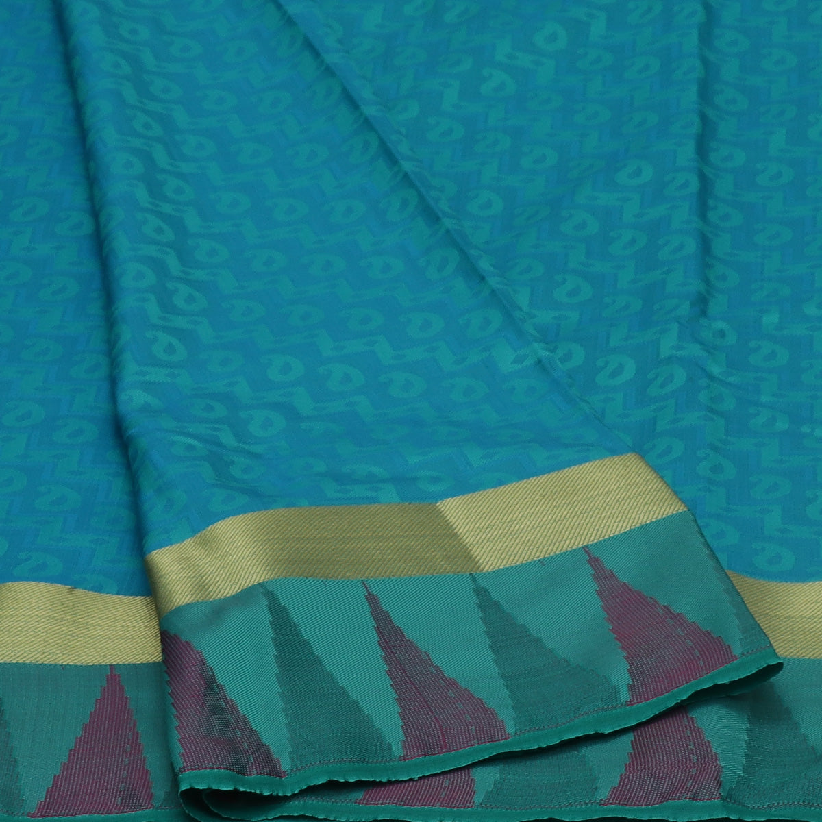 Art Silk Saree Sea Blue and Sea Green Dual shade with Simple Zari and Temple border